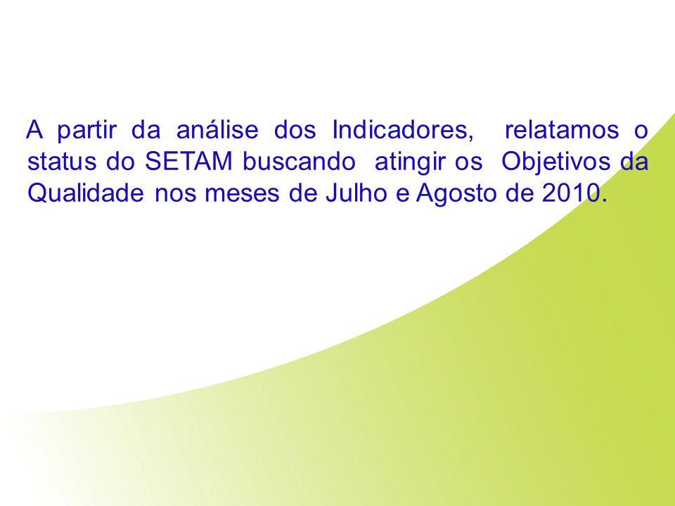 A partir da análise dos Indicadores, relatamos o status do SETAM buscando atingir os Objetivos da Qualidade nos meses de Julho e Agosto de 2010.
