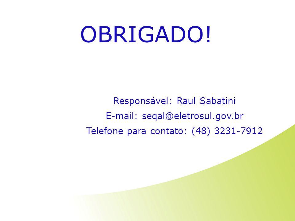 OBRIGADO! Responsável: Raul Sabatini E-mail: seqal@eletrosul.gov.br