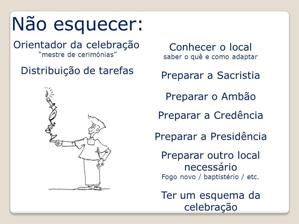 Não esquecer: Orientador da celebração Conhecer o local