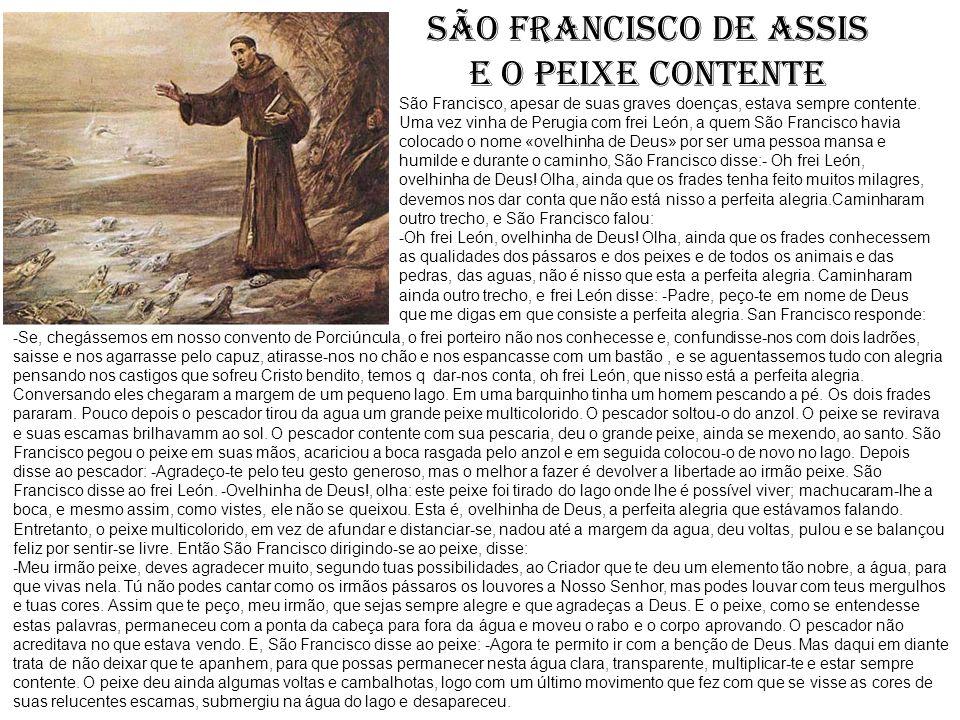 SÃO FRANCISCO DE ASSIS e o peixe contente