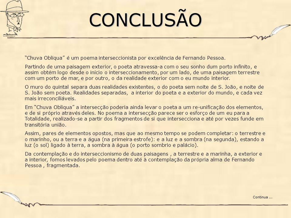 CONCLUSÃO Chuva Oblíqua é um poema interseccionista por excelência de Fernando Pessoa.