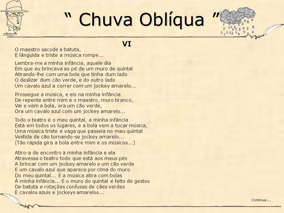 Chuva Oblíqua VI. O maestro sacode a batuta, E lânguida e triste a música rompe...
