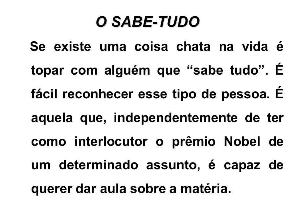 O SABE-TUDO