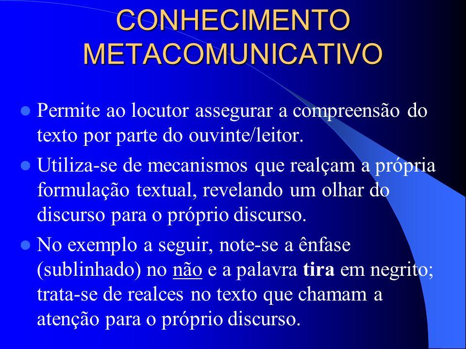 CONHECIMENTO METACOMUNICATIVO