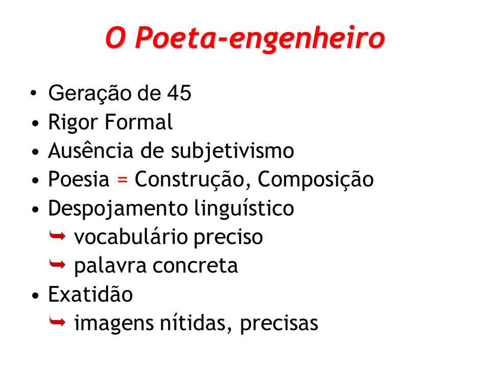 O Poeta-engenheiro Geração de 45 Rigor Formal Ausência de subjetivismo