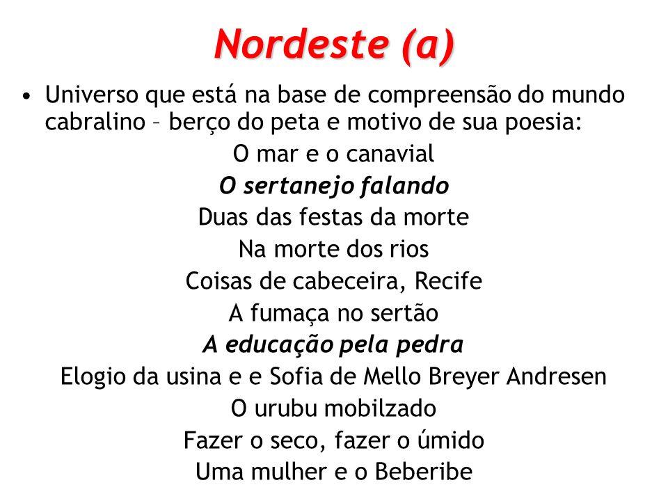 Nordeste (a) Universo que está na base de compreensão do mundo cabralino – berço do peta e motivo de sua poesia: