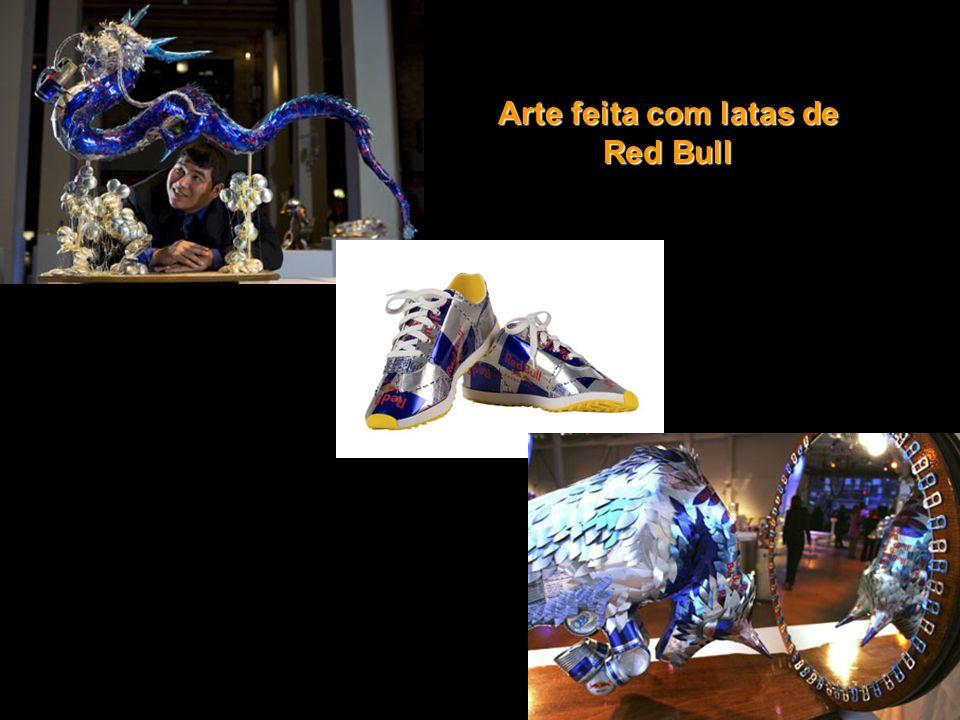 Arte feita com latas de Red Bull