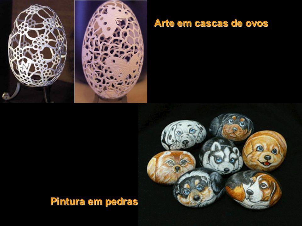Arte em cascas de ovos Pintura em pedras