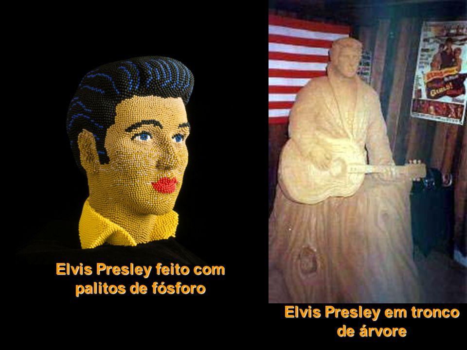 Elvis Presley feito com palitos de fósforo