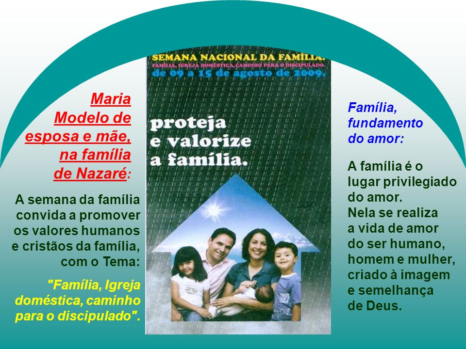 Modelo de esposa e mãe, na família de Nazaré: