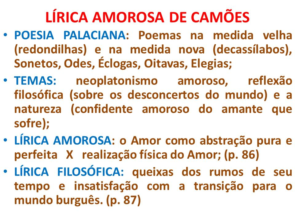 LÍRICA AMOROSA DE CAMÕES
