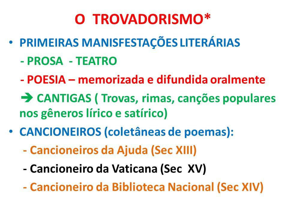O TROVADORISMO* PRIMEIRAS MANISFESTAÇÕES LITERÁRIAS - PROSA - TEATRO