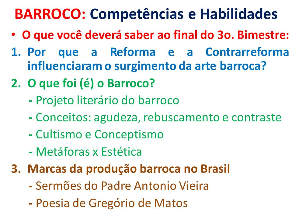 BARROCO: Competências e Habilidades