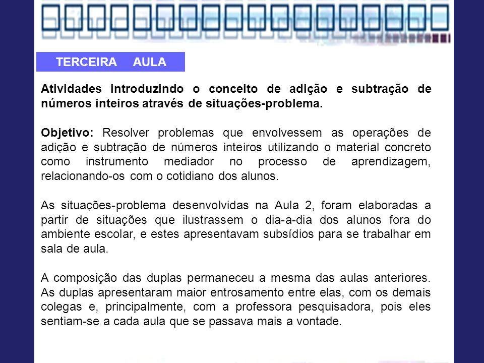 TERCEIRA AULA Atividades introduzindo o conceito de adição e subtração de números inteiros através de situações-problema.