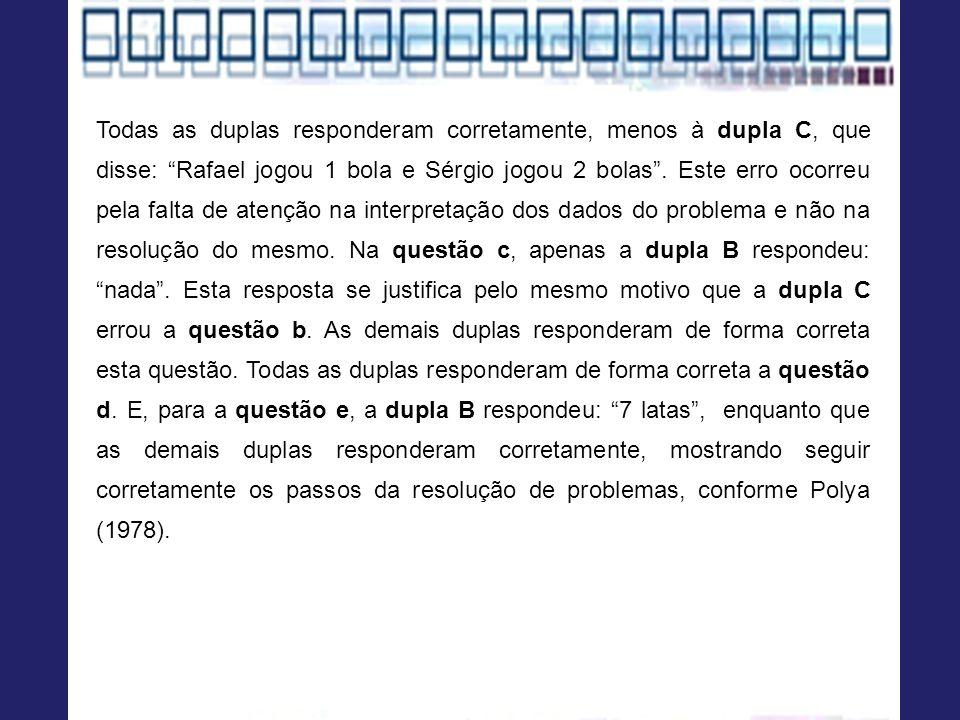 Todas as duplas responderam corretamente, menos à dupla C, que disse: Rafael jogou 1 bola e Sérgio jogou 2 bolas .