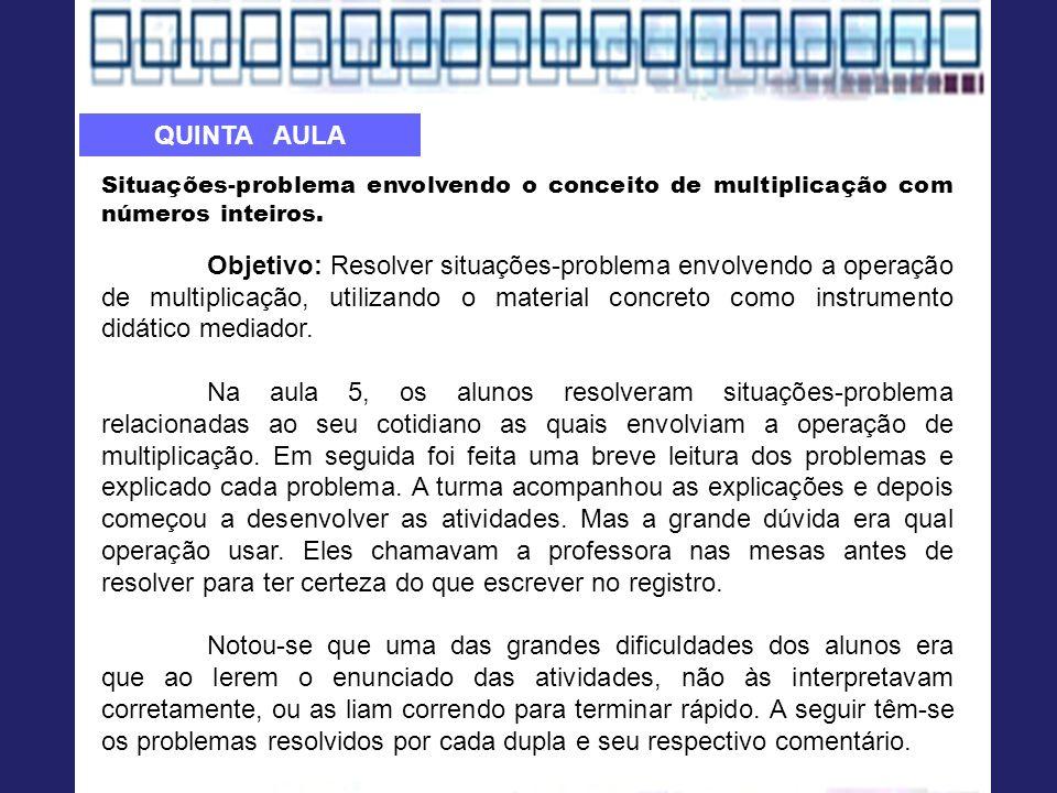 QUINTA AULA Situações-problema envolvendo o conceito de multiplicação com números inteiros.