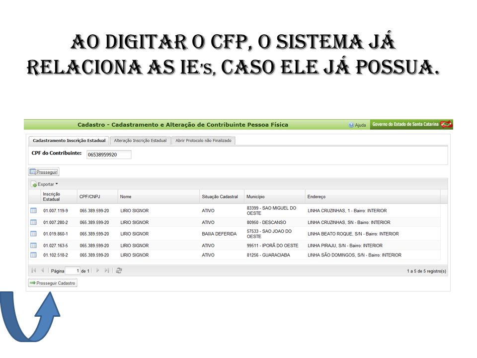 Ao digitar o CFP, o sistema já relaciona as Ie's, caso ele já possua.