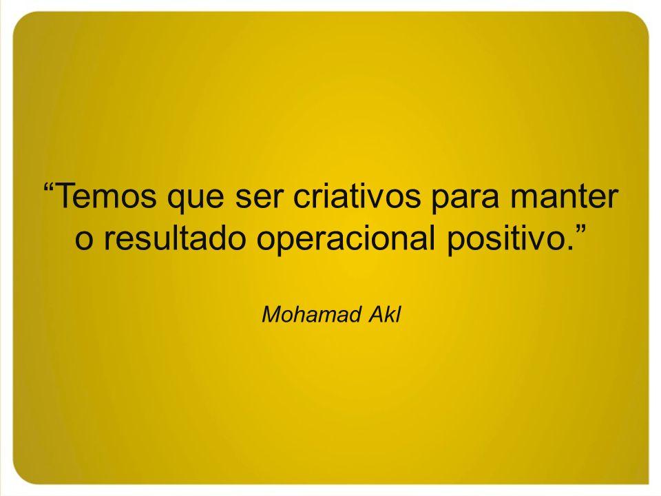 Temos que ser criativos para manter o resultado operacional positivo