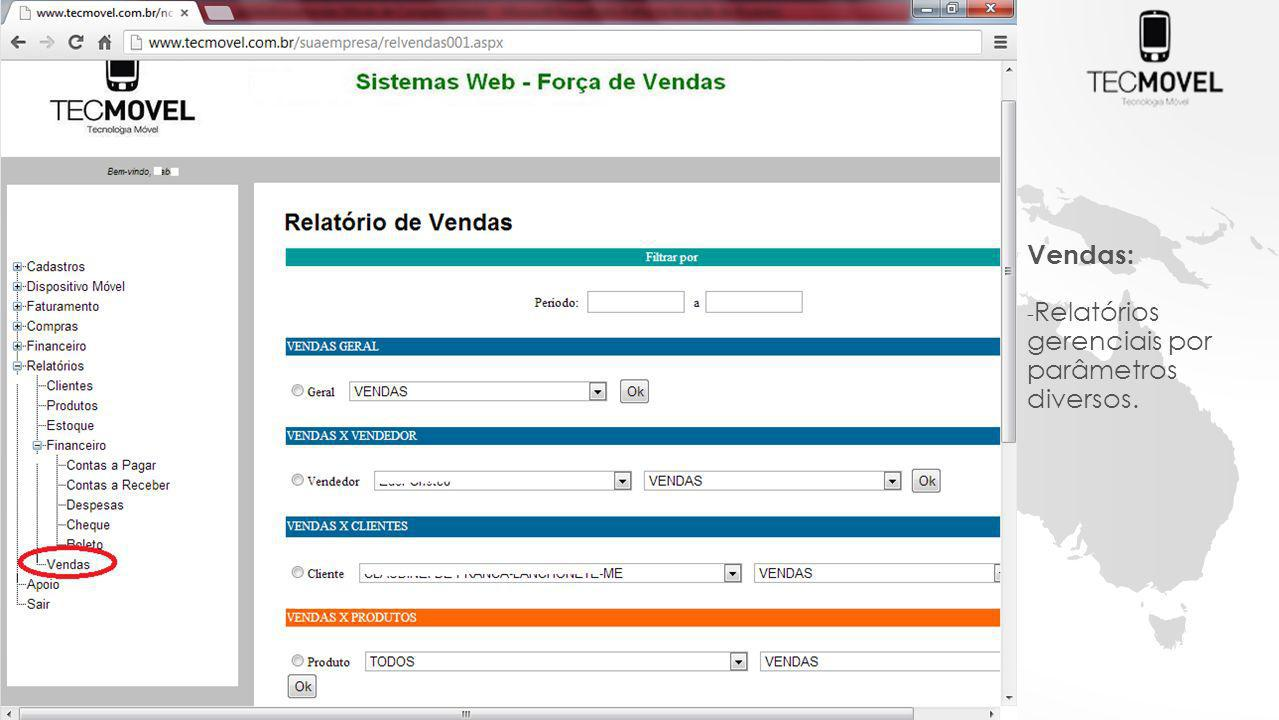 Vendas: Relatórios gerenciais por parâmetros diversos.