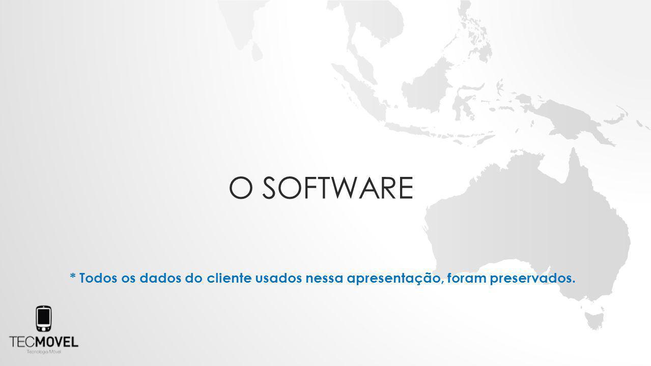 O software * Todos os dados do cliente usados nessa apresentação, foram preservados.