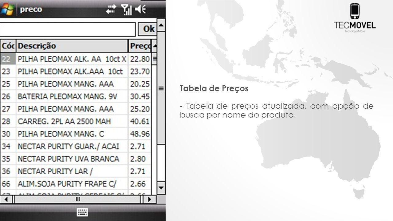 Tabela de Preços - Tabela de preços atualizada, com opção de busca por nome do produto.