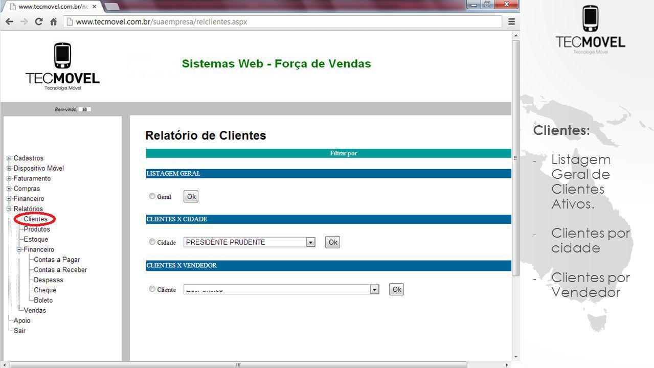 Clientes: Listagem Geral de Clientes Ativos. Clientes por cidade Clientes por Vendedor