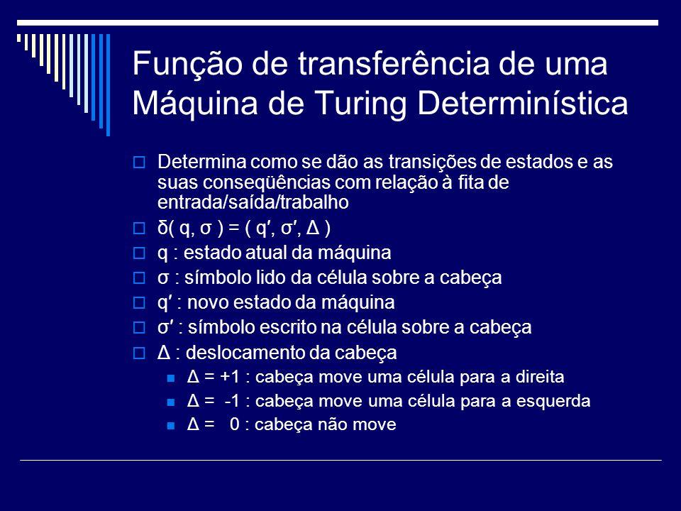 Função de transferência de uma Máquina de Turing Determinística