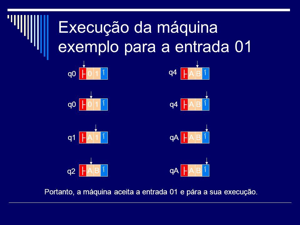 Execução da máquina exemplo para a entrada 01