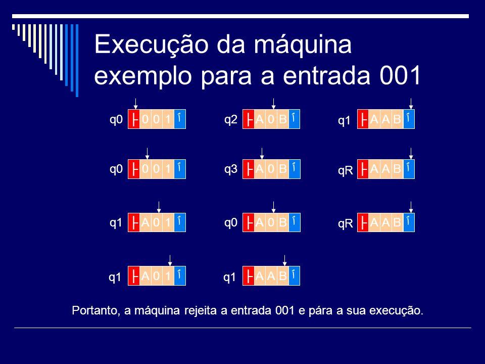 Execução da máquina exemplo para a entrada 001