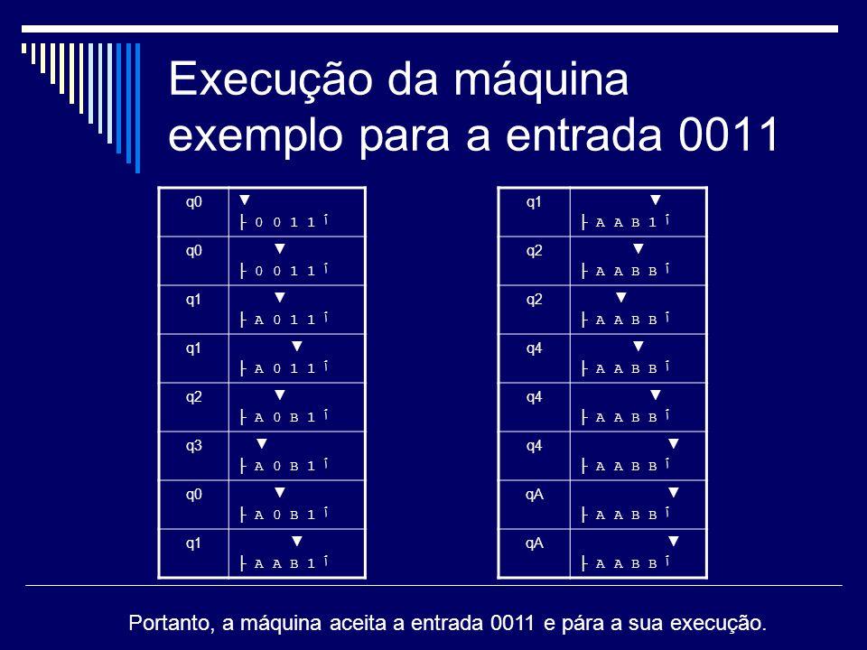 Execução da máquina exemplo para a entrada 0011