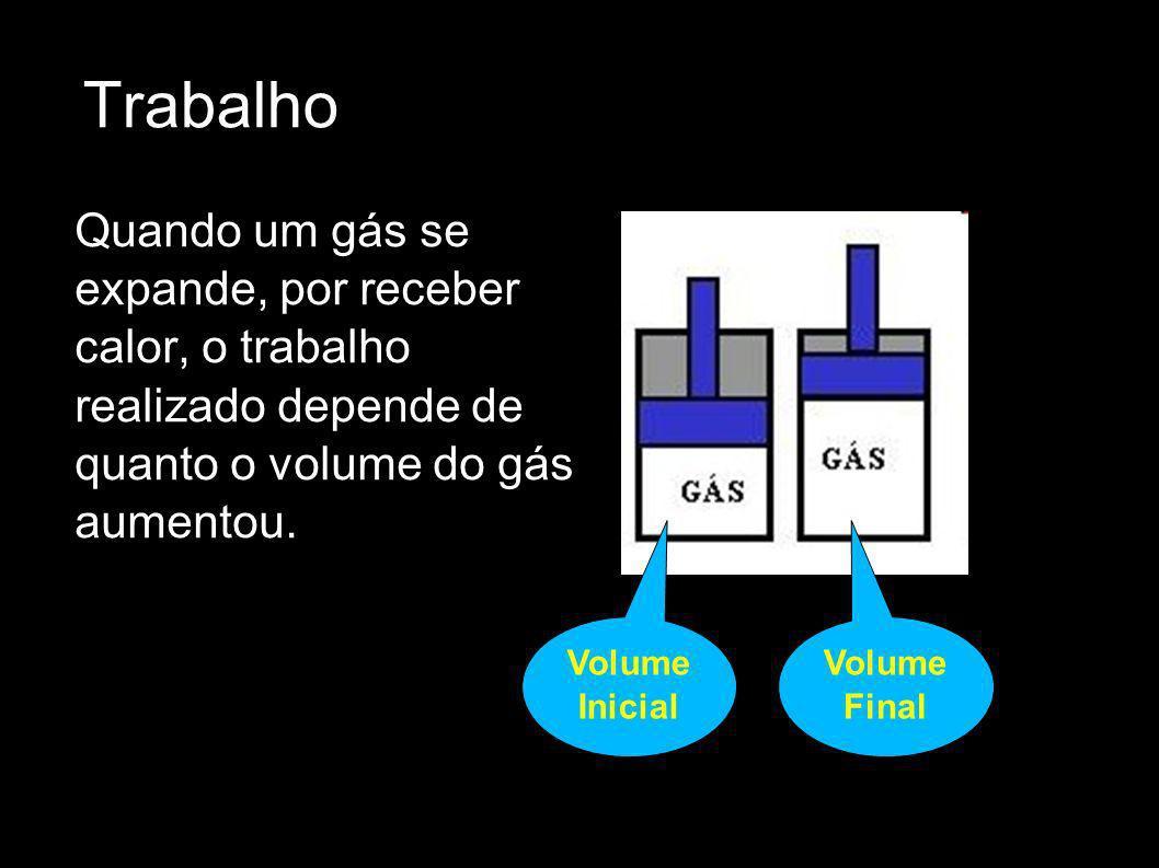 Trabalho Quando um gás se expande, por receber calor, o trabalho realizado depende de quanto o volume do gás aumentou.