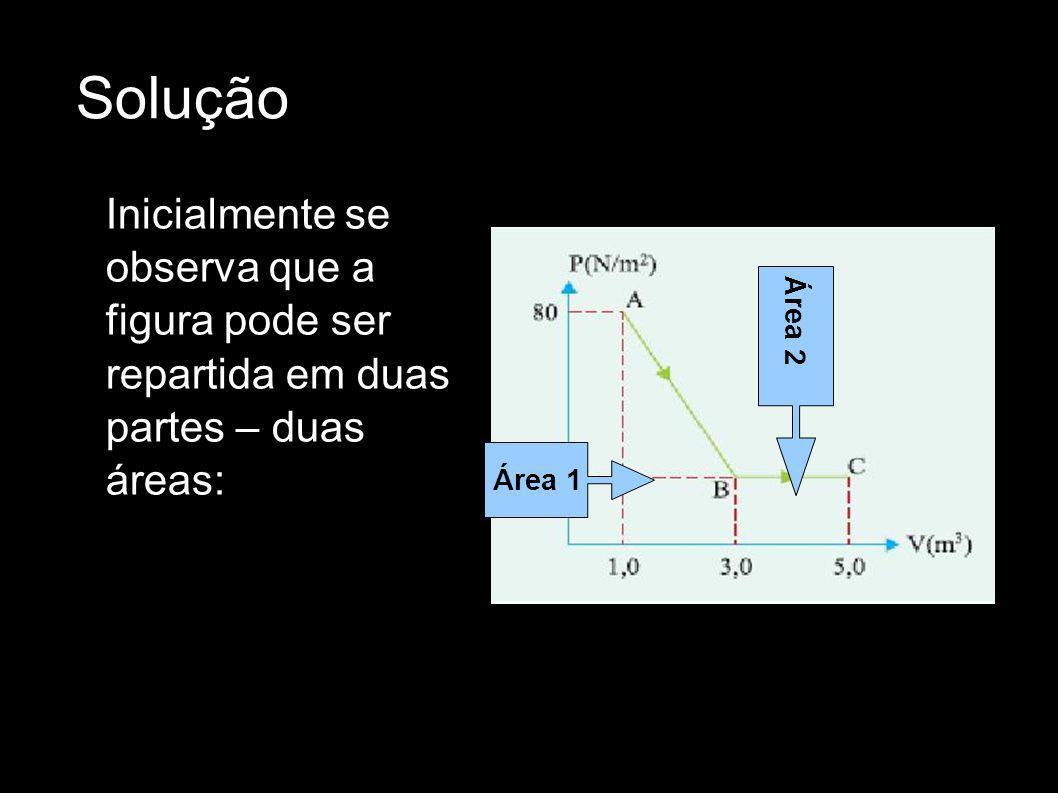 Solução Inicialmente se observa que a figura pode ser repartida em duas partes – duas áreas: Área 2.
