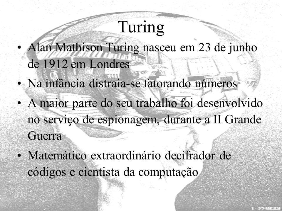 Turing Alan Mathison Turing nasceu em 23 de junho de 1912 em Londres