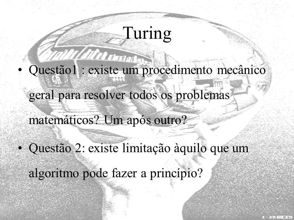Turing Questão1 : existe um procedimento mecânico geral para resolver todos os problemas matemáticos Um após outro