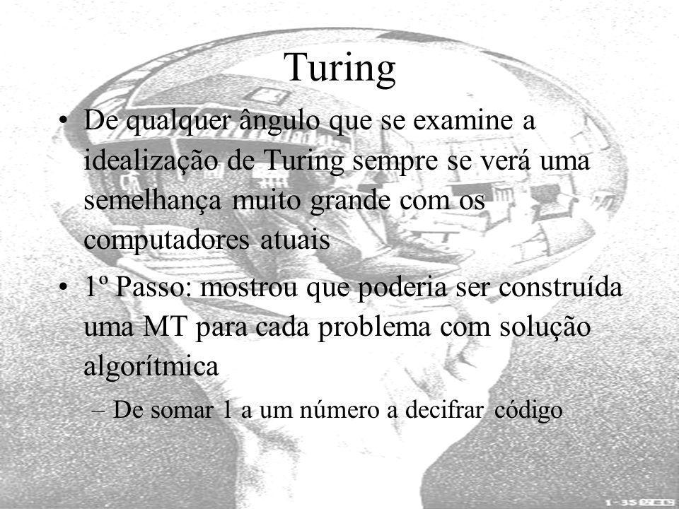 Turing De qualquer ângulo que se examine a idealização de Turing sempre se verá uma semelhança muito grande com os computadores atuais.