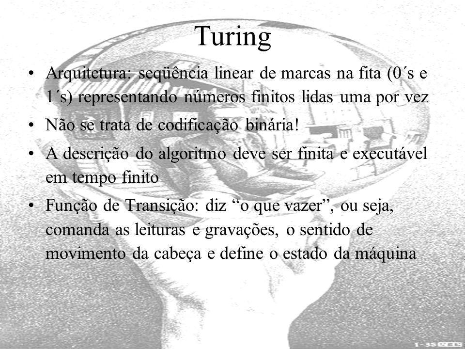Turing Arquitetura: seqüência linear de marcas na fita (0´s e 1´s) representando números finitos lidas uma por vez.