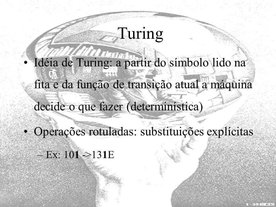 Turing Idéia de Turing: a partir do símbolo lido na fita e da função de transição atual a máquina decide o que fazer (determinística)