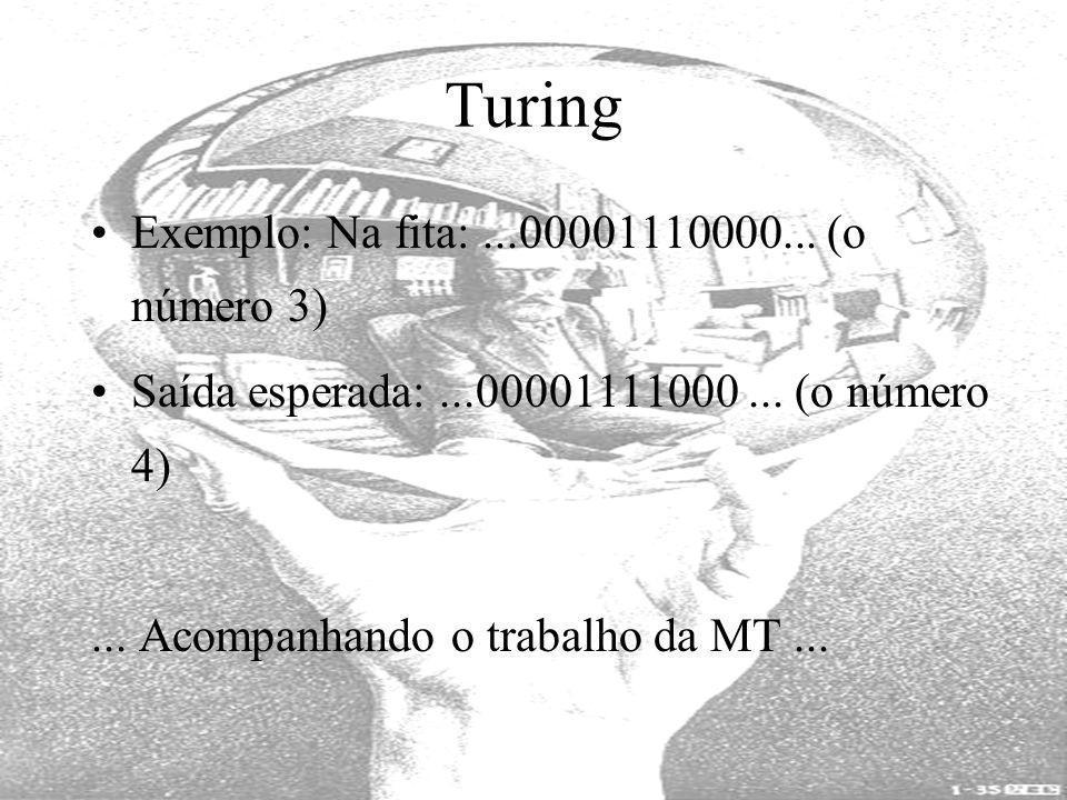 Turing Exemplo: Na fita: ...00001110000... (o número 3)