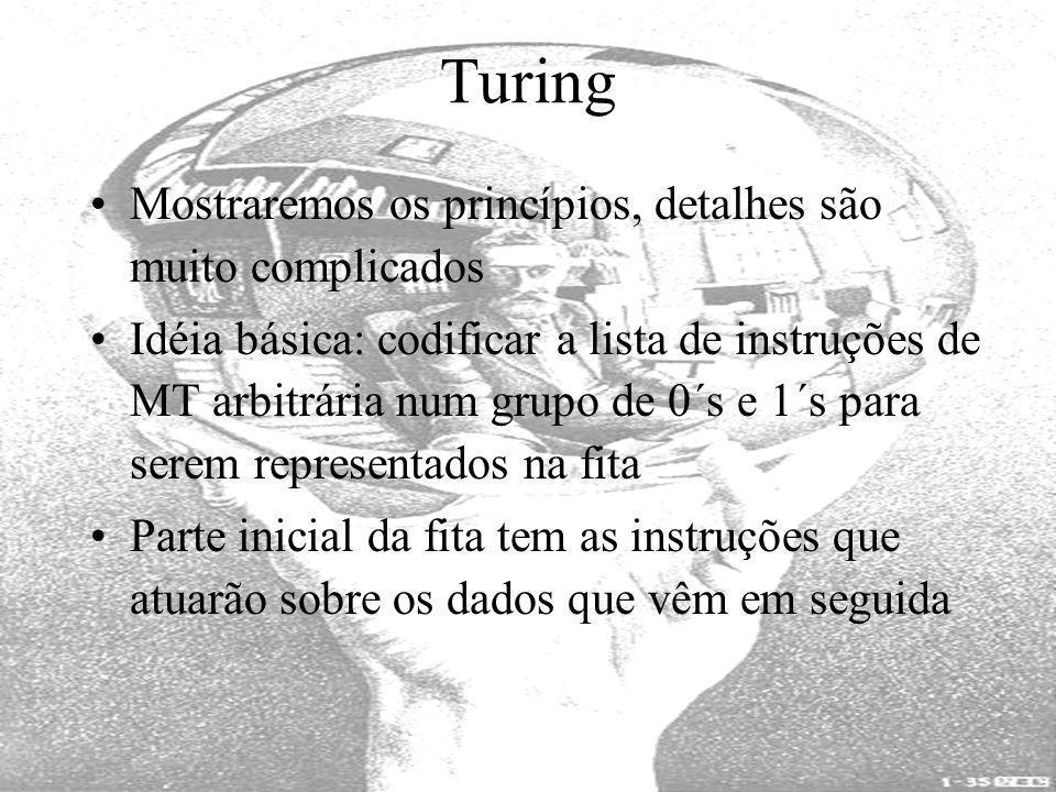 Turing Mostraremos os princípios, detalhes são muito complicados