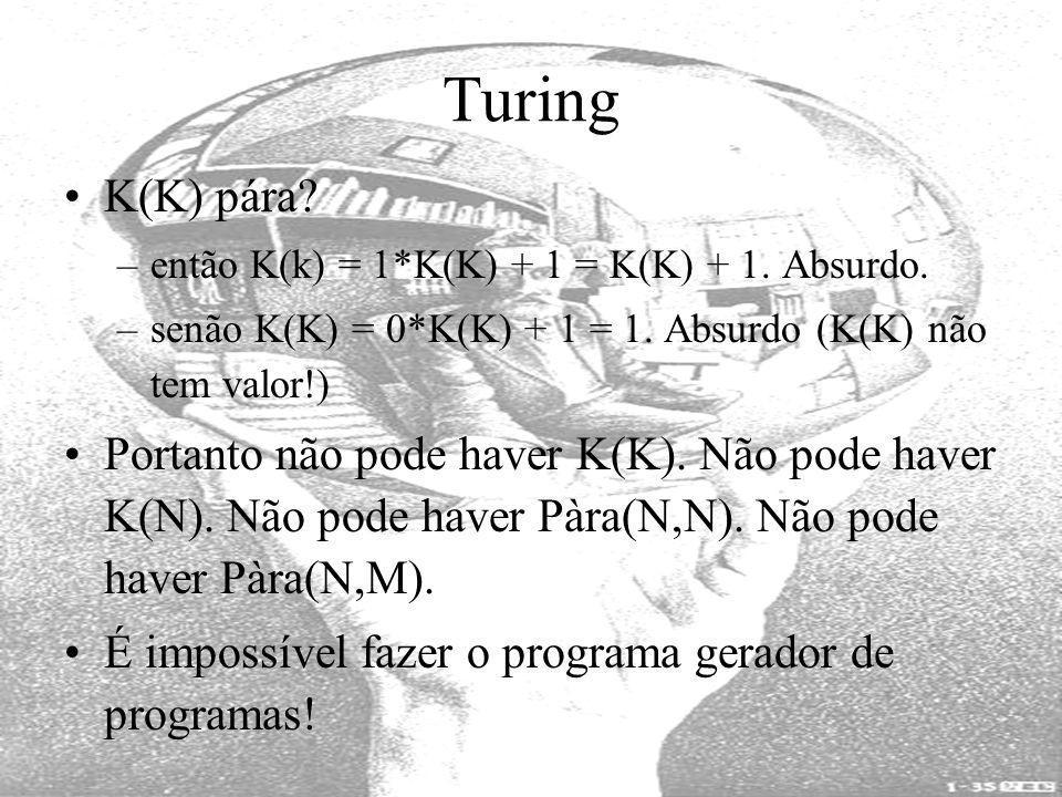 Turing K(K) pára então K(k) = 1*K(K) + 1 = K(K) + 1. Absurdo. senão K(K) = 0*K(K) + 1 = 1. Absurdo (K(K) não tem valor!)