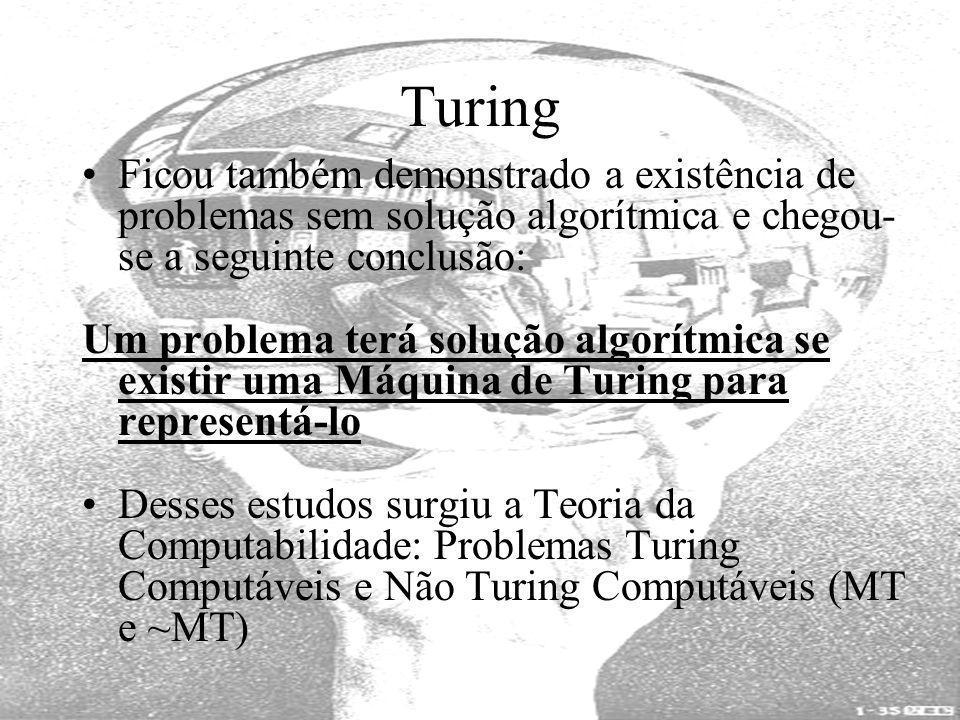 Turing Ficou também demonstrado a existência de problemas sem solução algorítmica e chegou-se a seguinte conclusão: