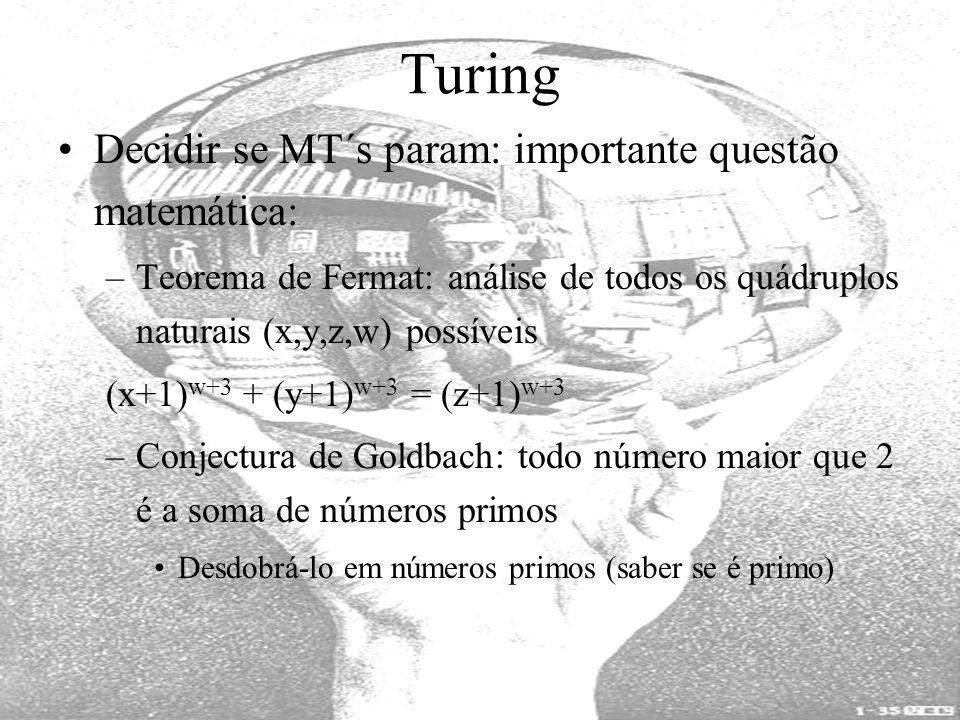 Turing Decidir se MT´s param: importante questão matemática: