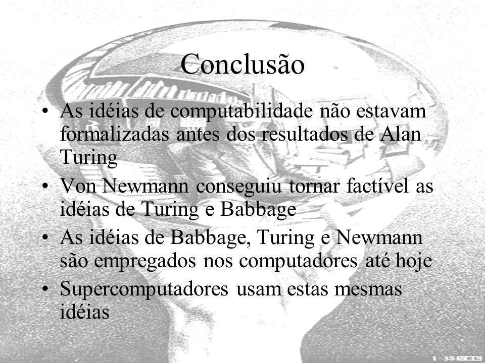 Conclusão As idéias de computabilidade não estavam formalizadas antes dos resultados de Alan Turing.