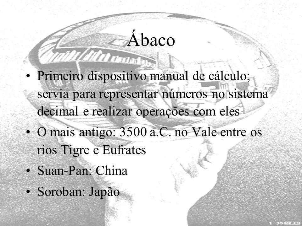 Ábaco Primeiro dispositivo manual de cálculo; servia para representar números no sistema decimal e realizar operações com eles.