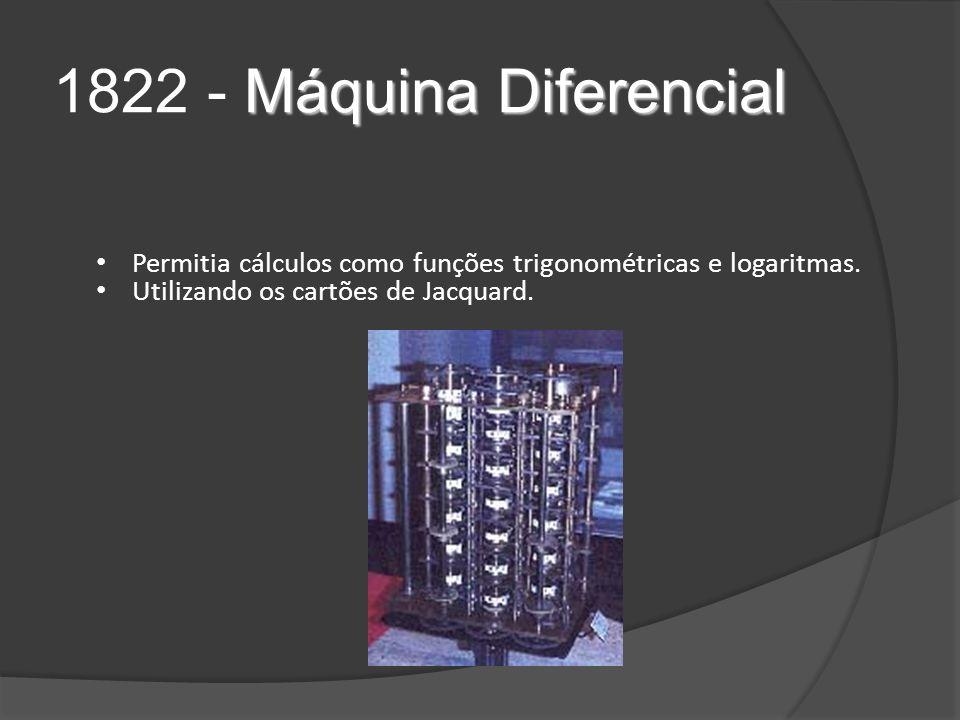1822 - Máquina Diferencial Permitia cálculos como funções trigonométricas e logaritmas.