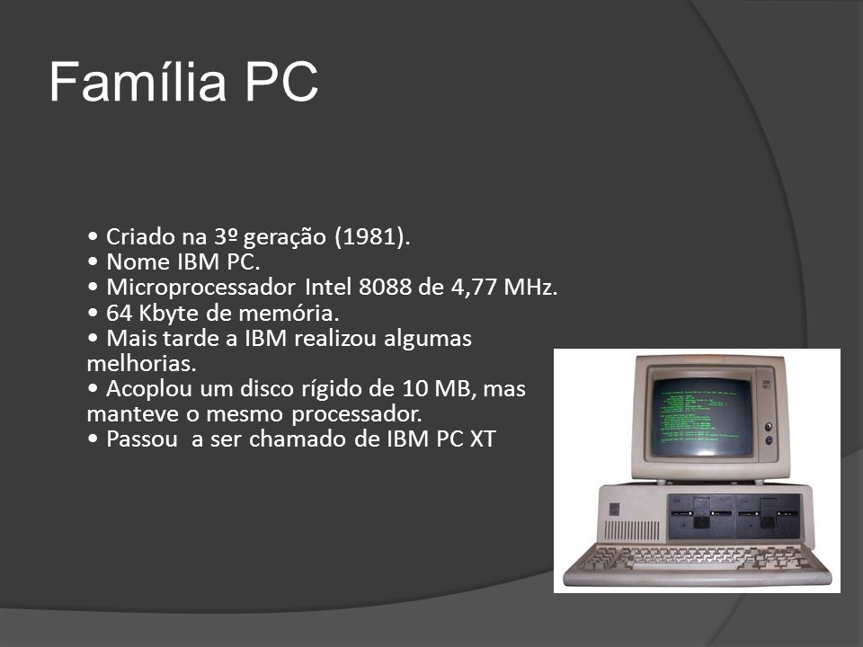 Família PC Criado na 3º geração (1981). Nome IBM PC.