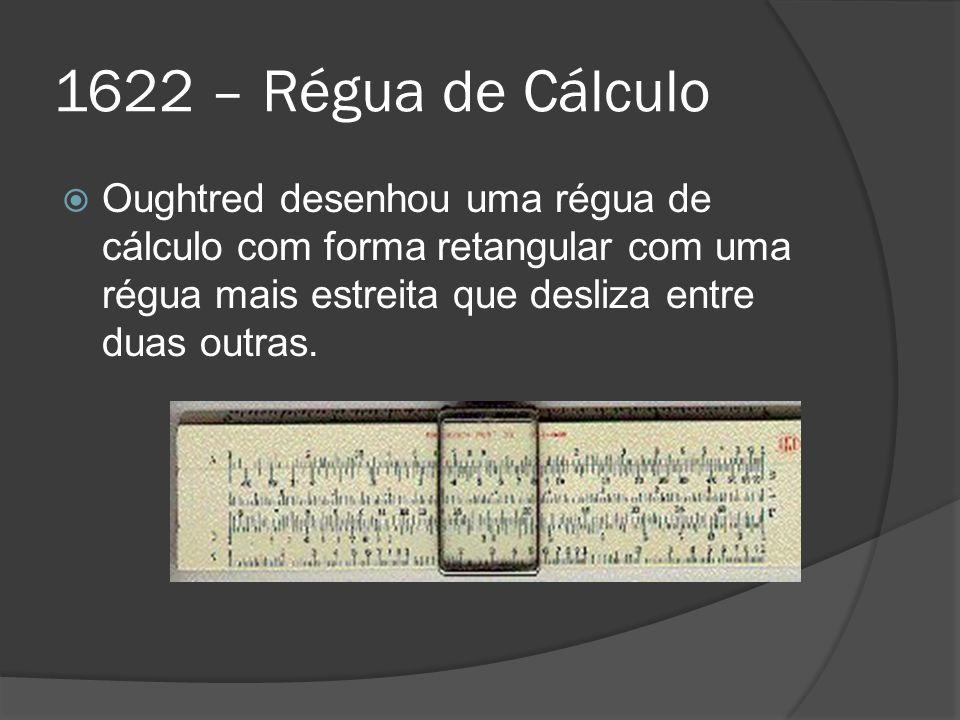 1622 – Régua de Cálculo Oughtred desenhou uma régua de cálculo com forma retangular com uma régua mais estreita que desliza entre duas outras.