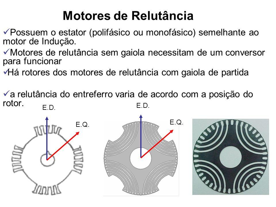 Motores de Relutância Possuem o estator (polifásico ou monofásico) semelhante ao motor de Indução.