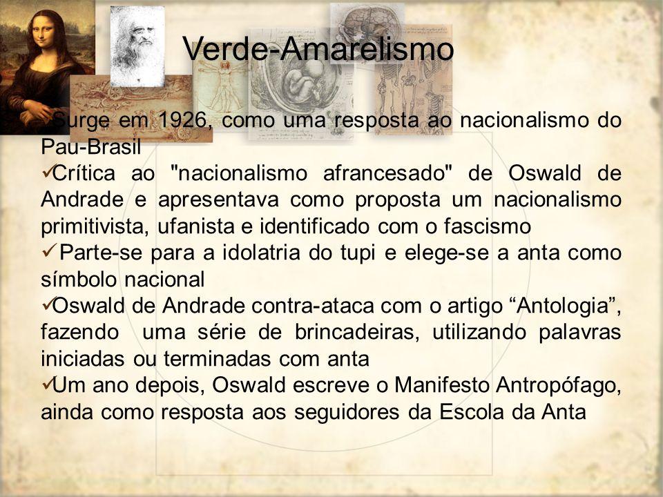 Verde-Amarelismo Surge em 1926, como uma resposta ao nacionalismo do Pau-Brasil.