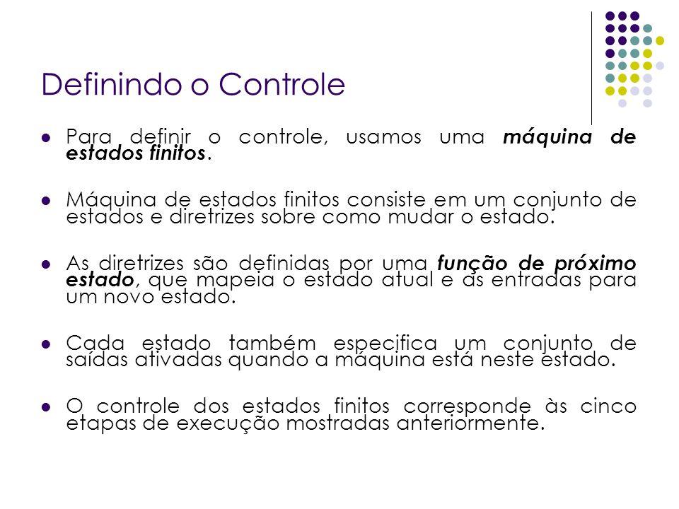 Definindo o Controle Para definir o controle, usamos uma máquina de estados finitos.